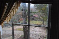 The horse barn seen from the upstairs guest room.