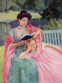 """Auguste Reading to Her Daughter"" by Mary cassatt"