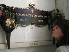 Just found this photo of me kissin' Valentino's niche at Hollywood Forever back in January. But I promise that lipstick mark isn't from me! (author FB page)