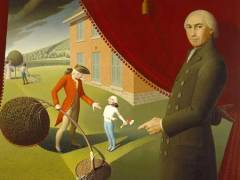 "'Parson Weems' Fable', a 1939 painting by Grant Wood, depicting both Weems and his famous ""Cherry Tree"" story. (wiki)"
