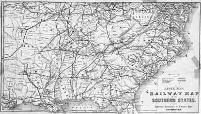 Appletons' Railway Map of the Southern States, 1874, libs.uga.edu