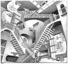 """Relativity"" by M. C. Escher."