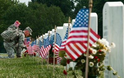 Flags In ceremony, Arlington, prior to Memorial Day (Photo: Paul J. Richards, Getty Images)