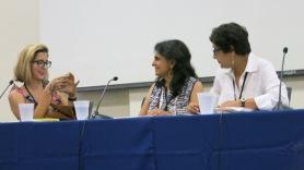 L-R Porochista Khakpour, moderator, Thrity Umrigar