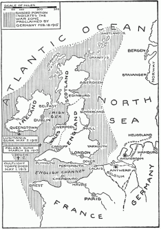 The war zone, as proclaimed by Germany in 1915, with Lusitania site indicated. (wiki)