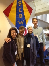 Decatur Children's Writers Group, L to R:  Jamieson Haverkampf, Deb Miller, Kate Gilbert, Randall Bonser (and SCBWI kite logo)
