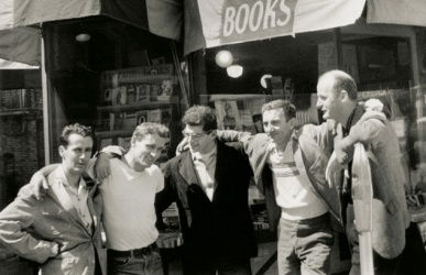 "City lights: ""In the road ... Bob Donlin, Neal Cassady, Allen Ginsberg, Robert La Vigne and Lawrence Ferlinghetti outside the City Lights bookstore in 1956. Photograph: Allen Ginsberg/Corbis"""