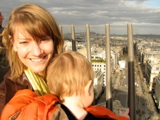 Stephanie and Artie atop the Arc de Triumphe in Paris.