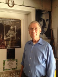Tom in his tiny office off the garage. Everything in this room has to do with Faulkner.