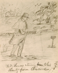Daniel Ricketson's sketch of Thoreau (whalingmuseumorg)
