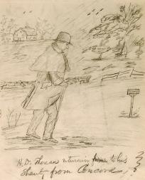 Daniel Ricketson's sketch of Thoreau (whalingmuseumorg)