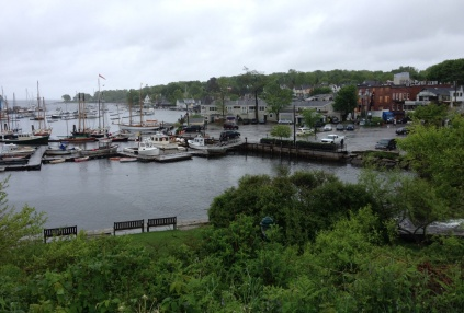 Camden Harbor, as seen from a hillside park.