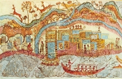 Part of the famous fresco depicting Minoan ships (found at ruins of Akrotiri on the island of Santorini)