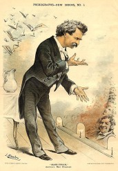 "This Puck cartoon from 1885 reads, ""'Mark Twain,' America's best Humorist."" Even when he was not in the public eye, Clemens/Twain always had to be the center of attention."