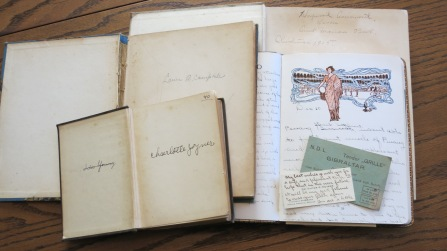 Starting bottom left, counter-clockwise: Mother's used copy of Kenilworth (Sir Walter Scott); Great Aunt Laura's copy of Beside the Bonnie Brier Bush (Ian Maclaren); Daddy's The Water Babies (Charles Kingsley), a 1915 Christmas gift from his Aunt Marian Ball; Blanche's travel journal, along with a gentleman's calling card.