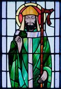 """St. Patrick depicted with shamrock in detail of stained glass window in St. Benin's Church, Kilbennan, County Galway, Ireland."" (wikipedia.org)"