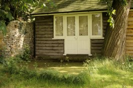 Virginia Woolf's writing-shed in sunshine, Monk's House, Rodmell jpegntprints.com