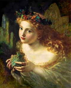 """Take the Fair Face of Woman, and Gently Suspending with Butterflies, Flames, and Jewels Attending, Thus Your Fairy is Made of Most Beautiful Things"""" (Painting by Sophie Gengembre Anderson (wikimedia.org)"