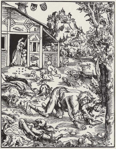 Woodcut of a werewolf attack by Lucas Cranach the Elder, 1512. Wikipedia