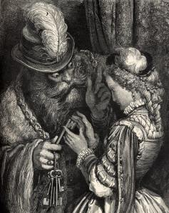 Bluebeard, his wife, and the keys in a 19th-century illustration by Gustave Doré (wikipedia)