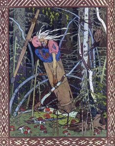 Baba Yaga as depicted by Ivan Bilibin, 1902 (wikipedia)