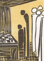 One of six woodcuts to the chess story The Royal Game by Stefan Zweig. Artist: Elke Rehder, Germany). Wikimedia