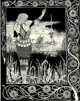 """How Sir Bedivere Cast the Sword Excalibur into the Water"", illustration for Le Morte Darthur, J. M. Dent & Co., London (1893-1894), by Aubrey Beardsley. (wiki)"
