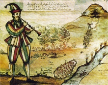 1592 painting of Pied Piper copied from the glass window of Marktkirche in Hameln (wikimedia)