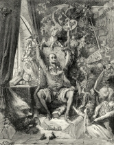 Don Quixote driven mad by reading books of chivalry. Engraving by Gustave Doré (1868)