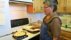 Paula Elmore demonstrates the art of Navajo Fry Bread.