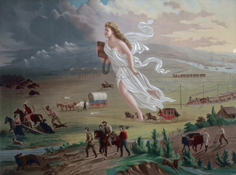 """American Progress"" by John Gast (1872), an allegorical representation of Manifest Destiny (wikimedia)"