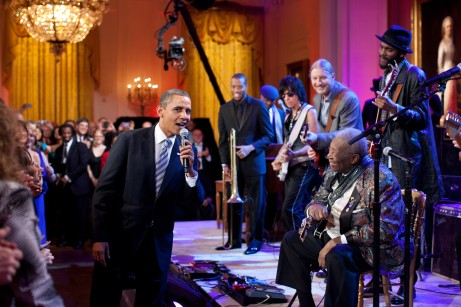 President Obama joins in singing ÒSweet Home ChicagoÓ during the ÒIn Performance at the White House: Red, White and BluesÓ concert in the East Room of the White House, Feb. 21, 2012. Participants include, from left: Troy ÒTrombone ShortyÓ Andrews, Jeff Beck, Derek Trucks, B.B. King, and Gary Clark, Jr. (Official White House Photo by Pete Souza) This official White House photograph is being made available only for publication by news organizations and/or for personal use printing by the subject(s) of the photograph. The photograph may not be manipulated in any way and may not be used in commercial or political materials, advertisements, emails, products, promotions that in any way suggests approval or endorsement of the President, the First Family, or the White House.