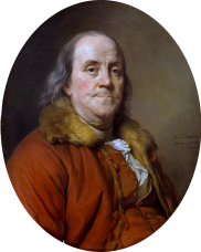 Benjamin Franklin Portrait by Joseph=Siffred Duplessis, used on $100 bill from 1929 until 1993. (wiki)