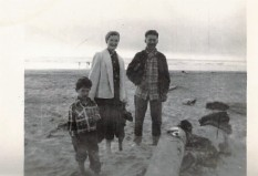 My Baube, Zayda, and father on the beach in Seaside, OR.