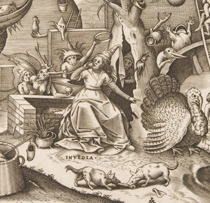 "Pieter Brueghel the Elder, detail of ""Envy"" (1558; engraved by Pieter van der Heyden) © Metropolitan Museum of Art"