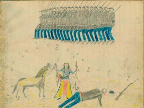 Ledger drawing of Kiowa warrior with US Army (Pinterest)