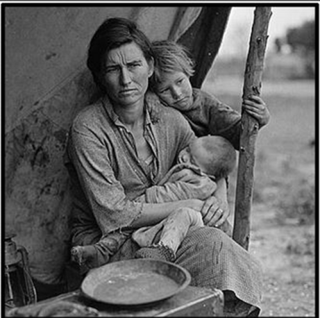 "Florence Owens Thompson, Dorothea's Lange's ""Migrant Mother,"" in a less familiar pose. (todayifounditout.com_"